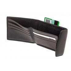 На фото 2 - Компактное мужское портмоне (кошелек) из кожи, черный. Размер XS