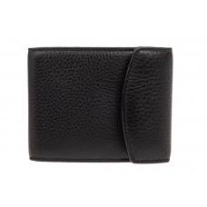 На фото 1 - Компактное мужское портмоне (кошелек) из кожи, черный. Размер XS