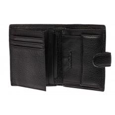 На фото 2 - Небольшое мужское портмоне из натуральной кожи, цвет черный
