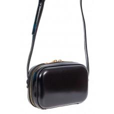 На фото 1 - Женская сумка-малышка с жёстким каркасом из искусственной кожи, цвет чёрный