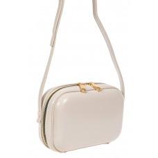 На фото 1 - Женская сумка-малышка с жёстким каркасом из искусственной кожи, цвет слоновой кости