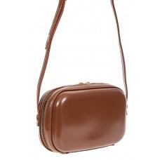 На фото 1 - Женская сумка-малышка с жёстким каркасом из искусственной кожи, цвет коричневый
