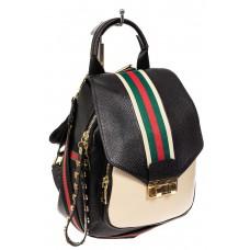На фото 1 - Женский рюкзак трансформер из натуральной кожи, цвет черный с белым