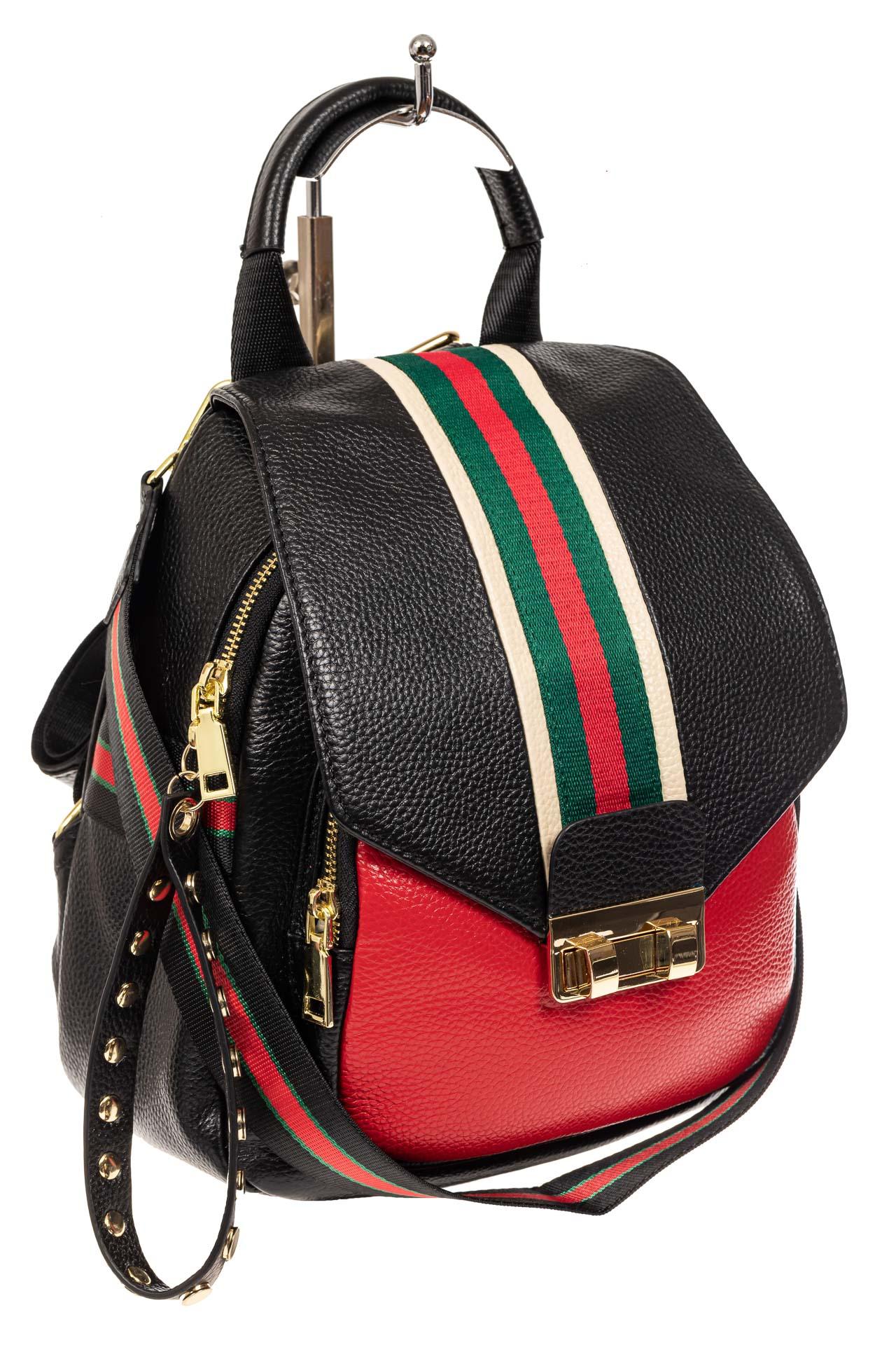 Женский рюкзак трансформер из натуральной кожи, цвет черный с краснымA102NK0520/3