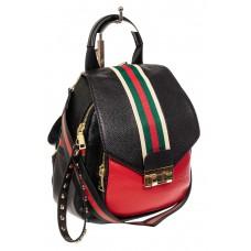 На фото 1 - Женский рюкзак трансформер из натуральной кожи, цвет черный с красным
