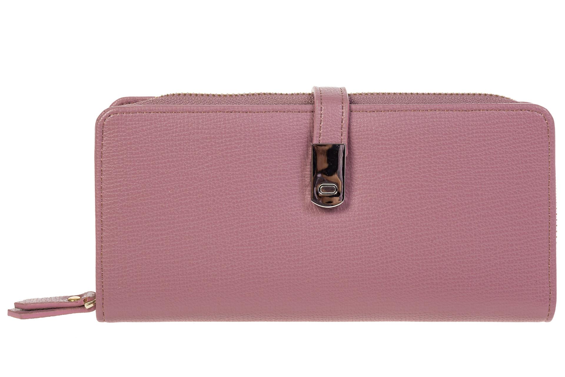 На фото 1 - Женское портмоне розового цвета из искусственной кожи