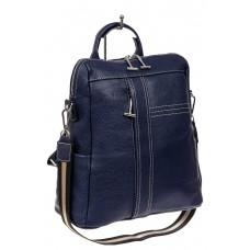 На фото 1 - Женский рюкзак транмформер из натуральной кожи, цвет синий