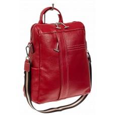 На фото 1 - Женский рюкзак трансформер из натуральной кожи, Цвет бордовый