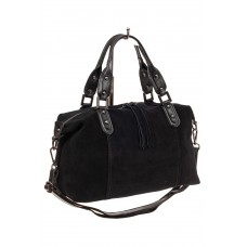На фото 1 - Замшевая сумка купол, цвет черный