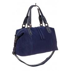 На фото 1 - Замшевая сумка купол, цвет синий