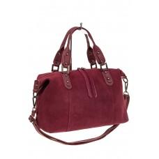 На фото 1 - Замшевая сумка купол, цвет бордо