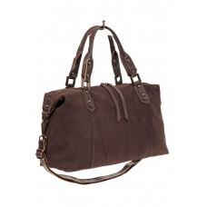 На фото 1 - Замшевая сумка купол, цвет коричневый