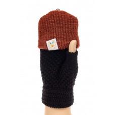 На фото 1 - Перчатки без пальцев женские, митенки, цвет черный