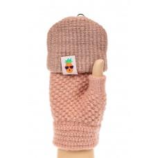 На фото 1 - Перчатки без пальцев женские, митенки, цвет бежево-розовый