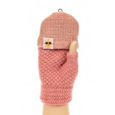 На фото 1 - Перчатки без пальцев женские, митенки, цвет розовый
