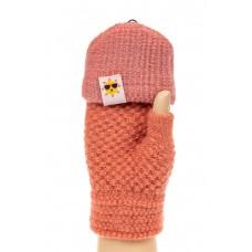На фото 1 - Перчатки без пальцев женские, митенки, цвет рыжий