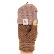 На фото 1 - Перчатки без пальцев женские, митенки, цвет коричневый