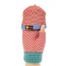 На фото 1 - Перчатки без пальцев женские, митенки вязаные, цвет розовый с бирюзой