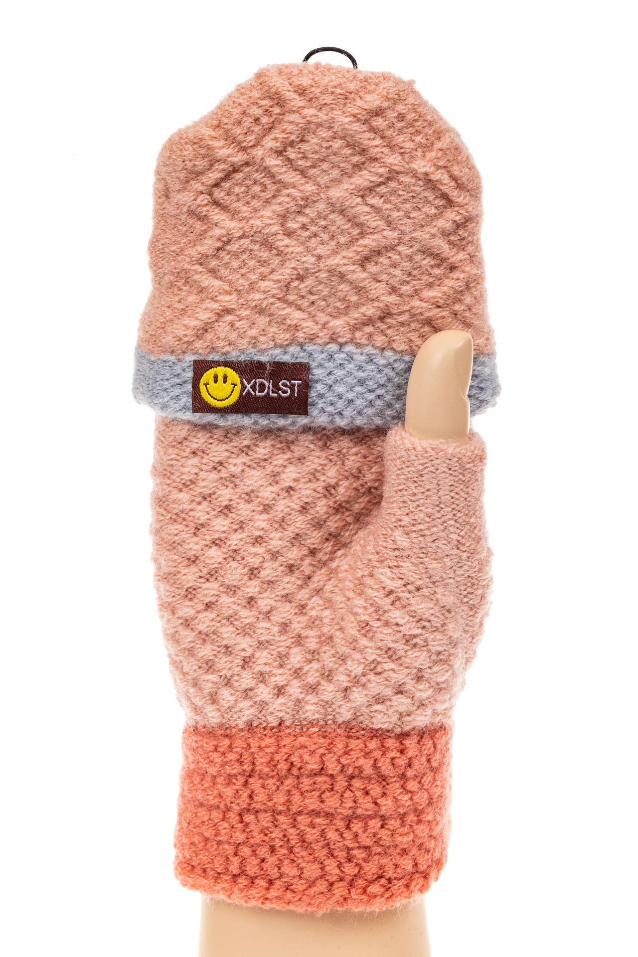 На фото 1 - Перчатки без пальцев женские, митенки вязаные, цвет розовый с рыжим