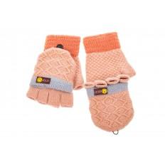 На фото 2 - Перчатки без пальцев женские, митенки вязаные, цвет розовый с рыжим