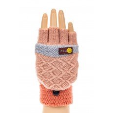 На фото 3 - Перчатки без пальцев женские, митенки вязаные, цвет розовый с рыжим