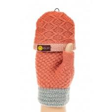 На фото 1 - Перчатки без пальцев женские, митенки вязаные, цвет рыжий с серым