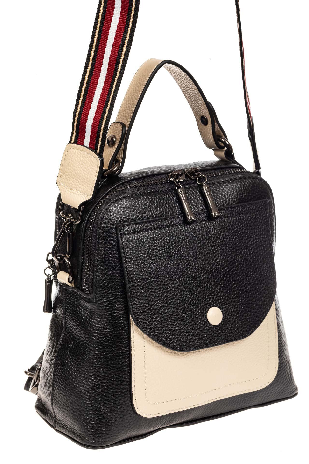 На фото 1 - Женский рюкзак трансформер из кожи, черный с белым