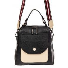 На фото 2 - Женский рюкзак трансформер из кожи, черный с белым