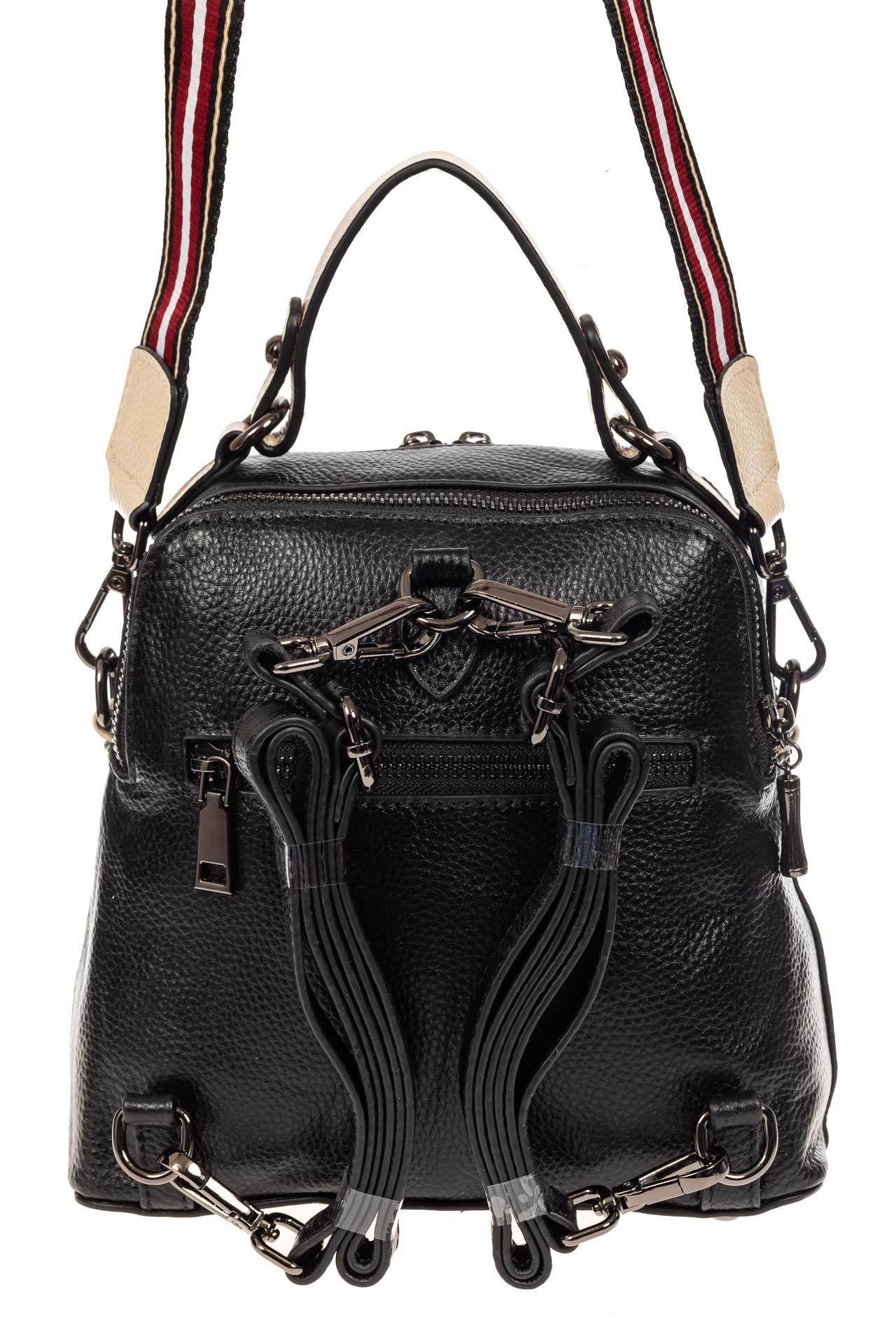 На фото 3 - Женский рюкзак трансформер из кожи, черный с белым
