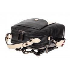 На фото 4 - Женский рюкзак трансформер из кожи, черный с белым