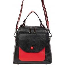 На фото 2 - Женский рюкзак трансформер из кожи, черный с красным