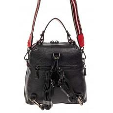 На фото 3 - Женский рюкзак трансформер из кожи, черный с красным