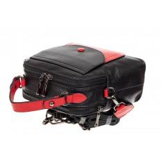 На фото 4 - Женский рюкзак трансформер из кожи, черный с красным