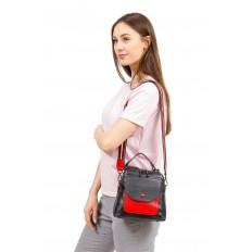 На фото 5 - Женский рюкзак трансформер из кожи, черный с красным