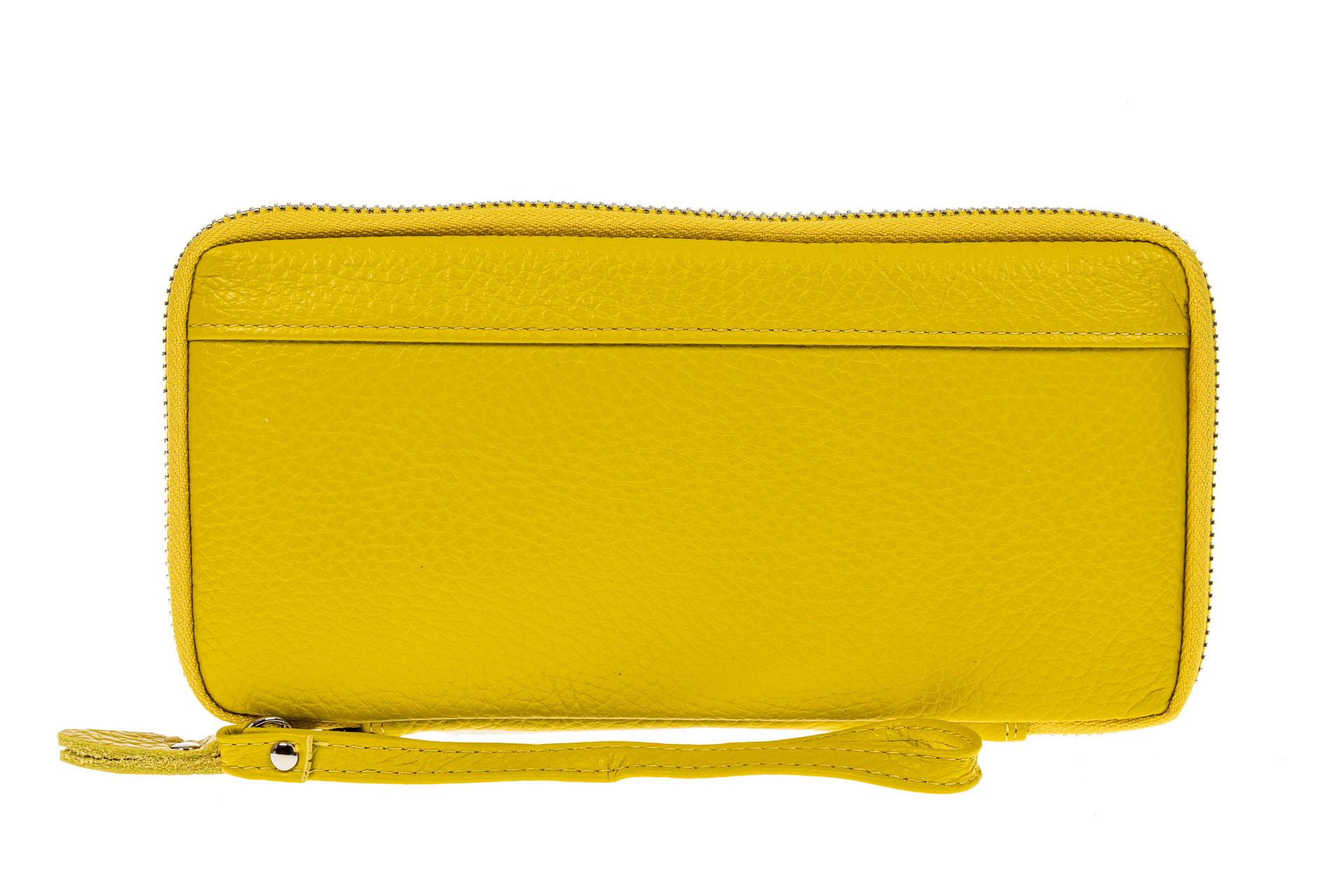 На фото 1 - Кошелек из натуральной кожи, цвет желтый