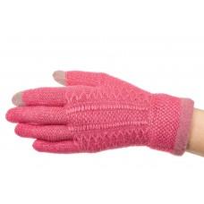 На фото 1 - Перчатки женские вязаные с Touch Screen, цвет малиновый