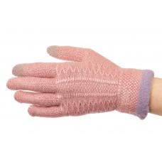 На фото 1 - Перчатки женские вязаные с Touch Screen, цвет розовый