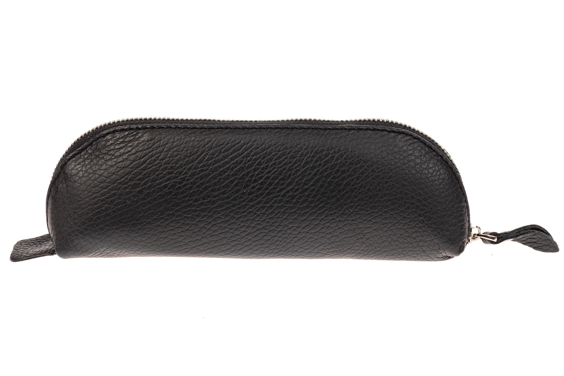 На фото 2 - Футляр-пенал из натуральной кожи, цвет черный