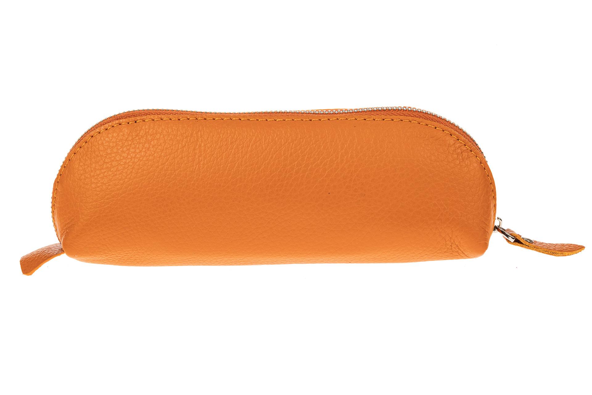 На фото 2 - Футляр-пенал из натуральной кожи, цвет оранжевый
