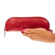 На фото 3 - Футляр-пенал из натуральной кожи, цвет красный