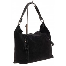 На фото 1 - Замшевая сумка тоут, цвет черный