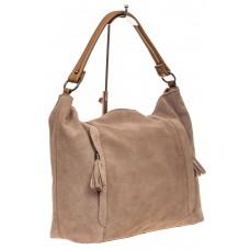 На фото 1 - Замшевая сумка тоут, цвет бежевый