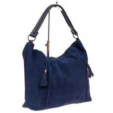 На фото 1 - Замшевая сумка тоут, цвет синий