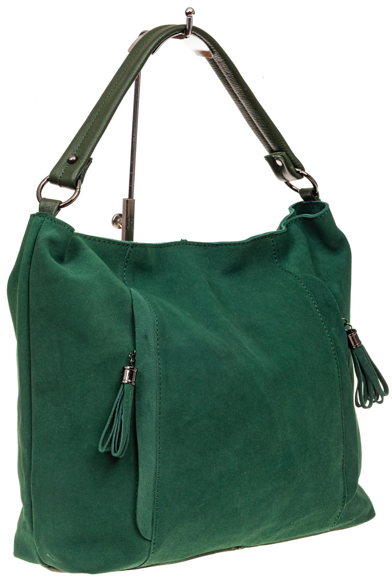 На фото 1 - Замшевая сумка тоут, цвет зеленый