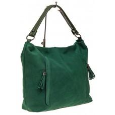 На фото 1 - Женская замшевая сумка тоут, цвет зеленый