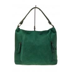 На фото 2 - Замшевая сумка тоут, цвет зеленый