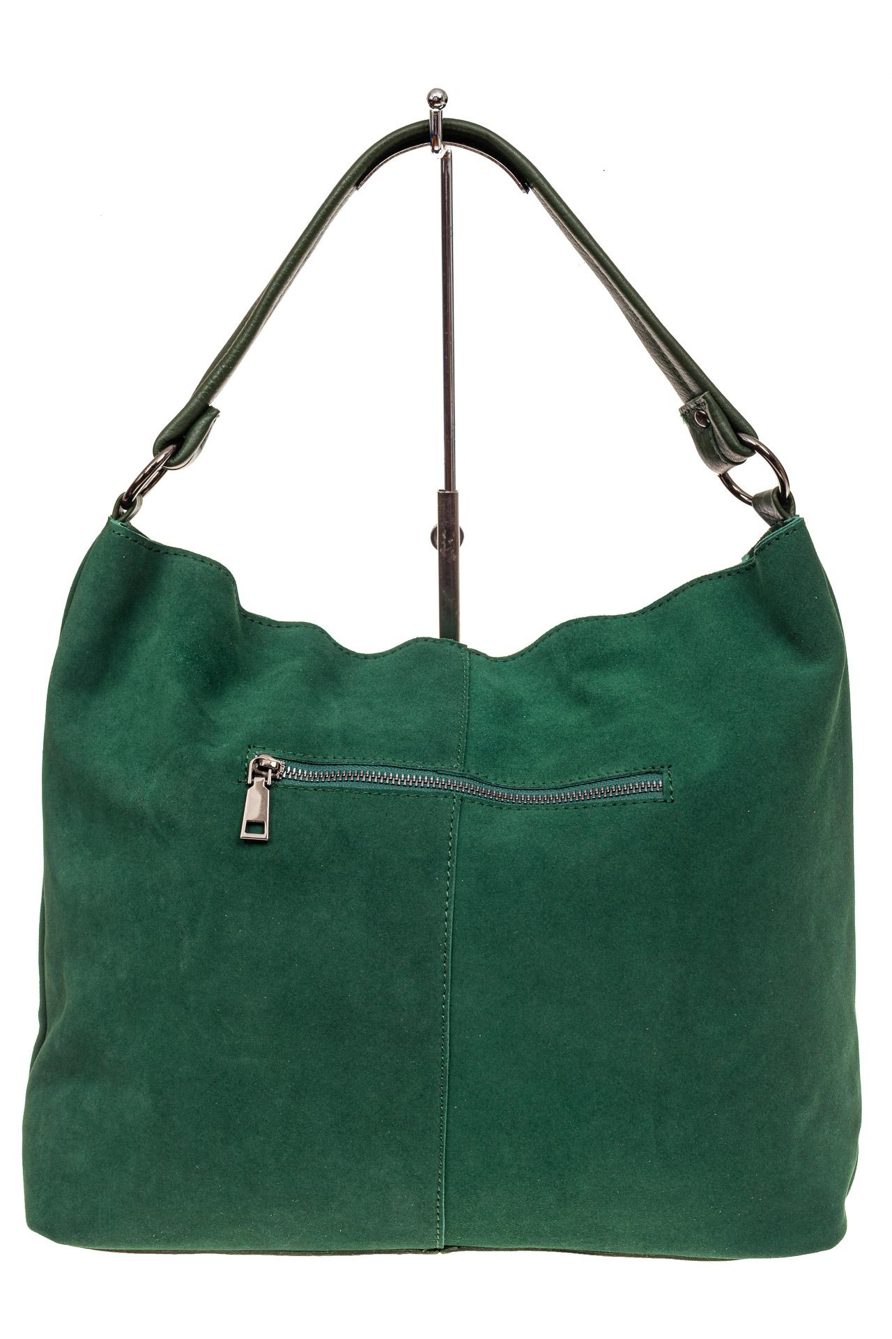 На фото 3 - Замшевая сумка тоут, цвет зеленый
