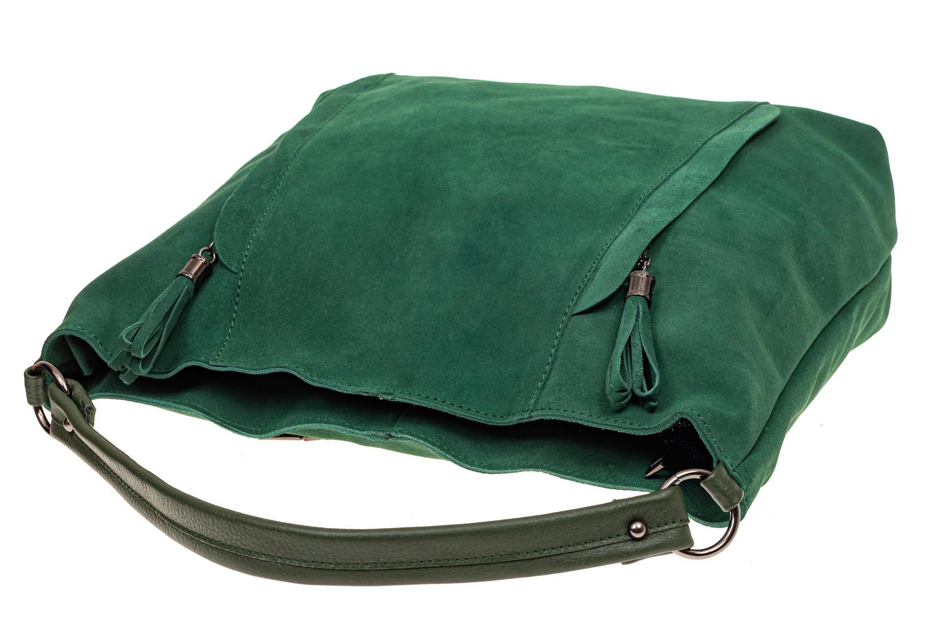 На фото 4 - Замшевая сумка тоут, цвет зеленый
