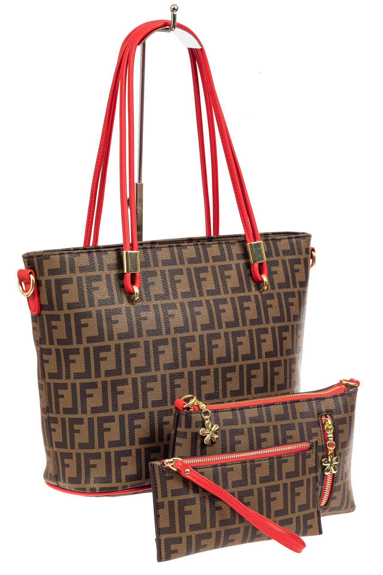 Женская сумка шоппер из искусственной кожи, цвет шоколадA17236-1PJ0520/2