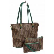 На фото 1 - Женская сумка шоппер из искусственной кожи, цвет шоколад